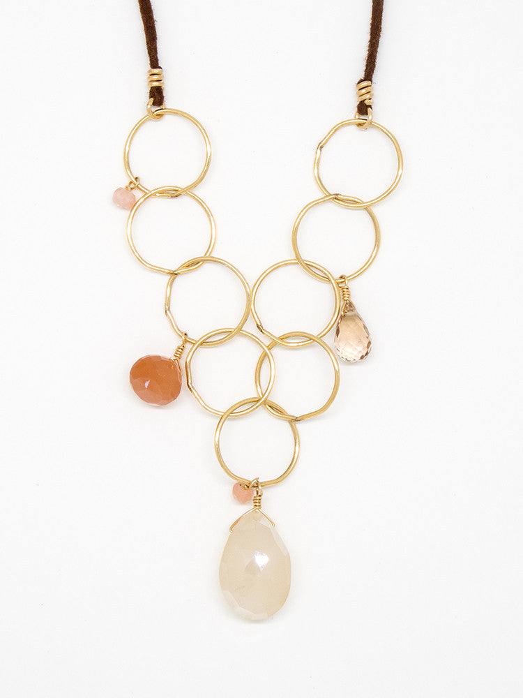 Pink Opal Bubble Chain Necklace - 6977