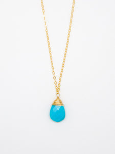 Turquoise Drop Wire Cap Necklace - 6998