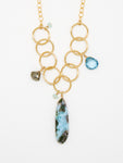Blue Opal Teardrop Necklace - 7000