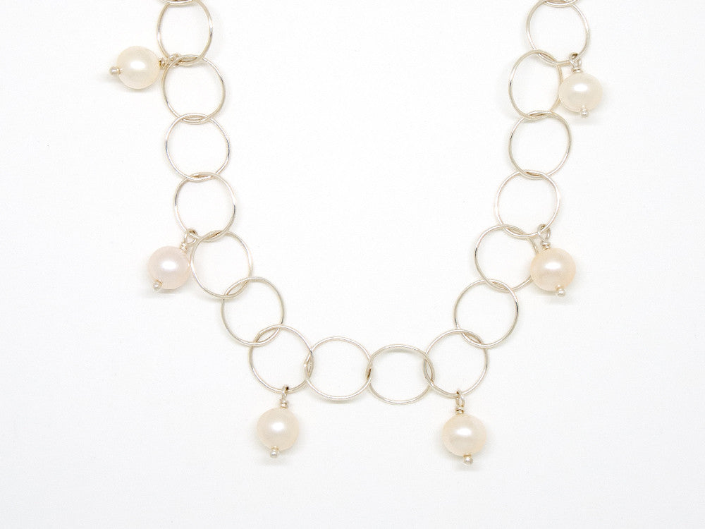 White Pearl Bubble Chain Necklace - 7003