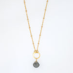 Gray Moonstone Drop Necklace - 7028