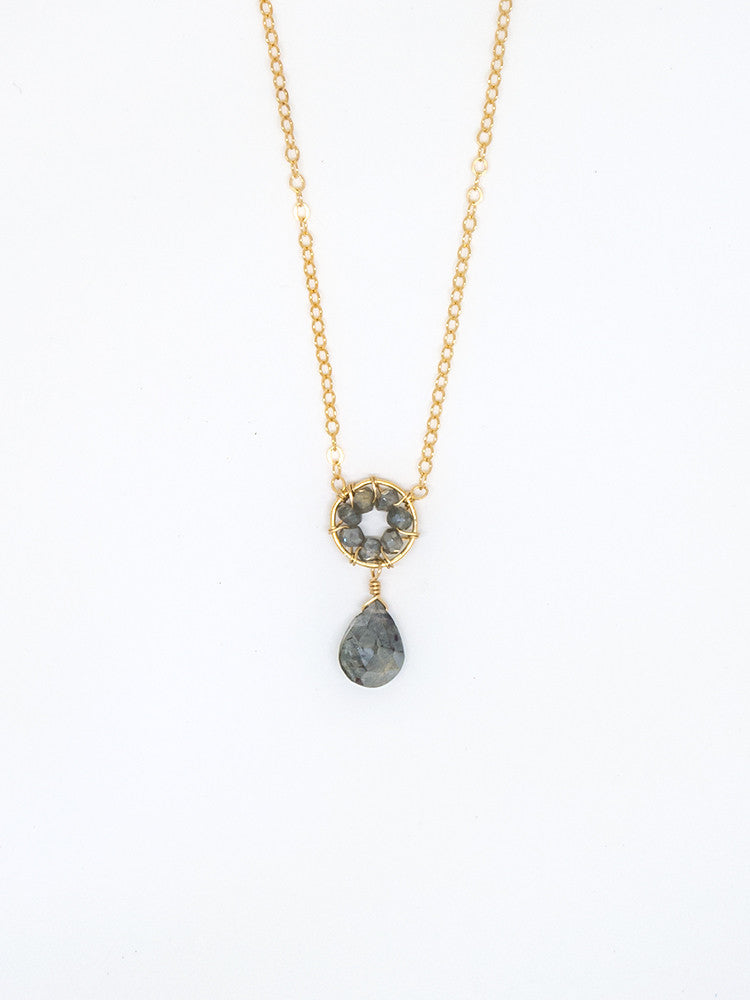 Gray Sapphire Drop Necklace - 7032
