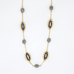 Gray Sapphire Oval Necklace - 7034