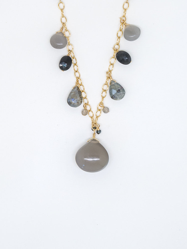 Gray Moonstone and Sapphire Sparkle and Shine Necklace - 7035