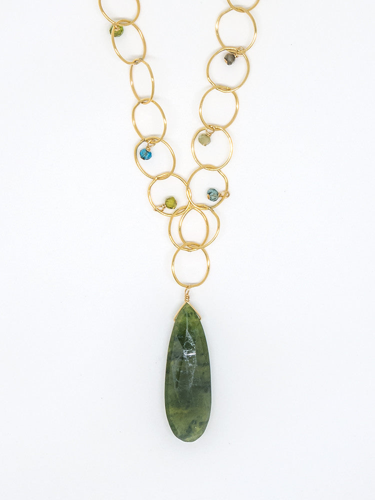 Green Zircon Bubble Chain Necklace - 7041