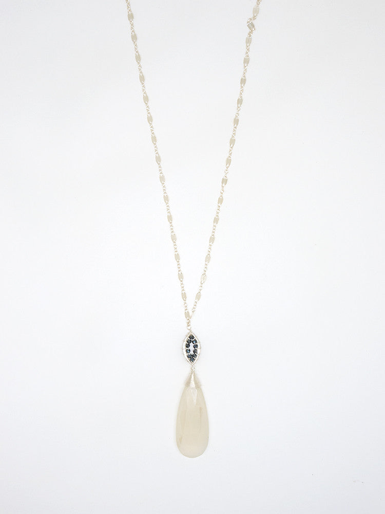 White Chalcedony Drop Wire Cap Necklace - 7053