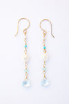 Long drop earring, aqua