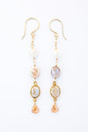 Long drop earring, peach