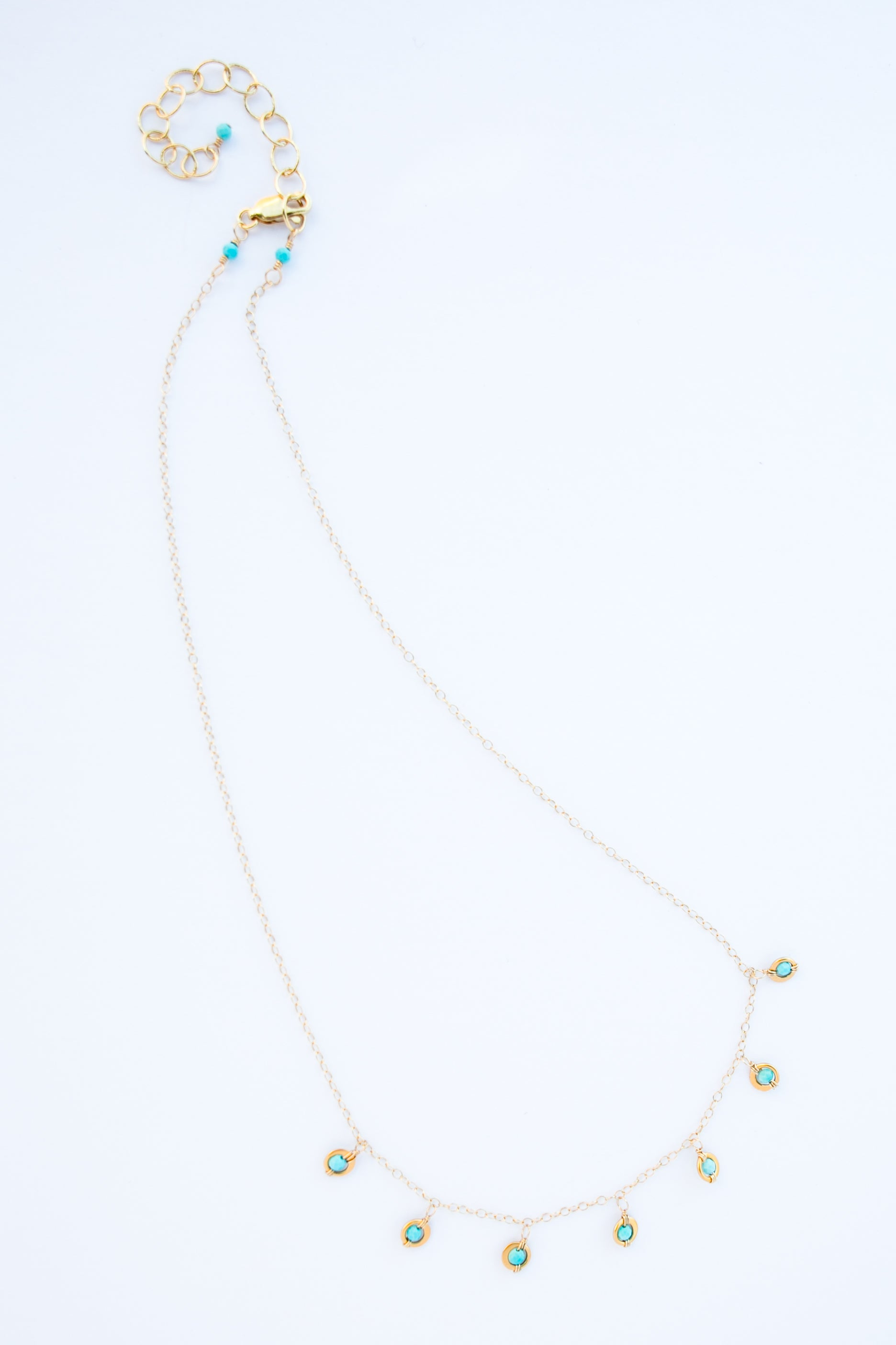 Gold filled turquoise seven dot necklace-9041