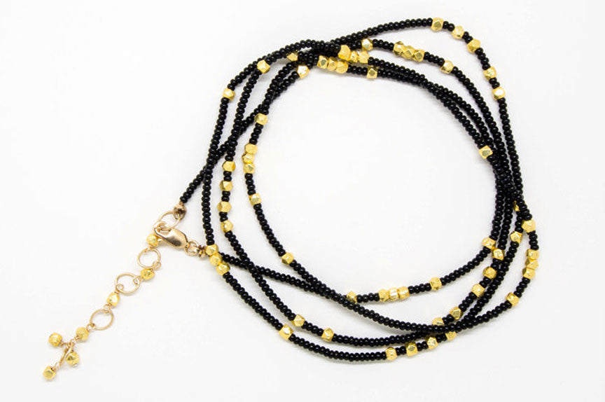 Black and Gold Seed Bead Wrap Bracelet - B883