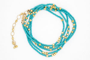 Turquoise and Gold Wrap Bracelet - B6298