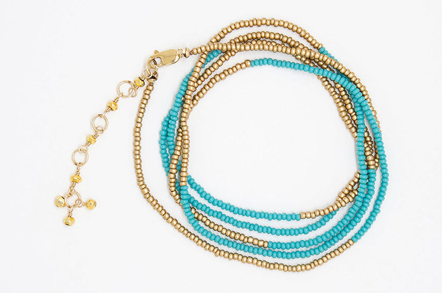 Turquoise and Gold Blocked Wrap Bracelet - B6781