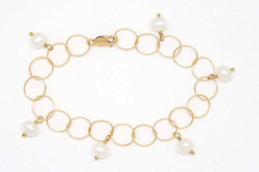 Light and Airy Gold Filled Bubble Chain Bracelet - B901