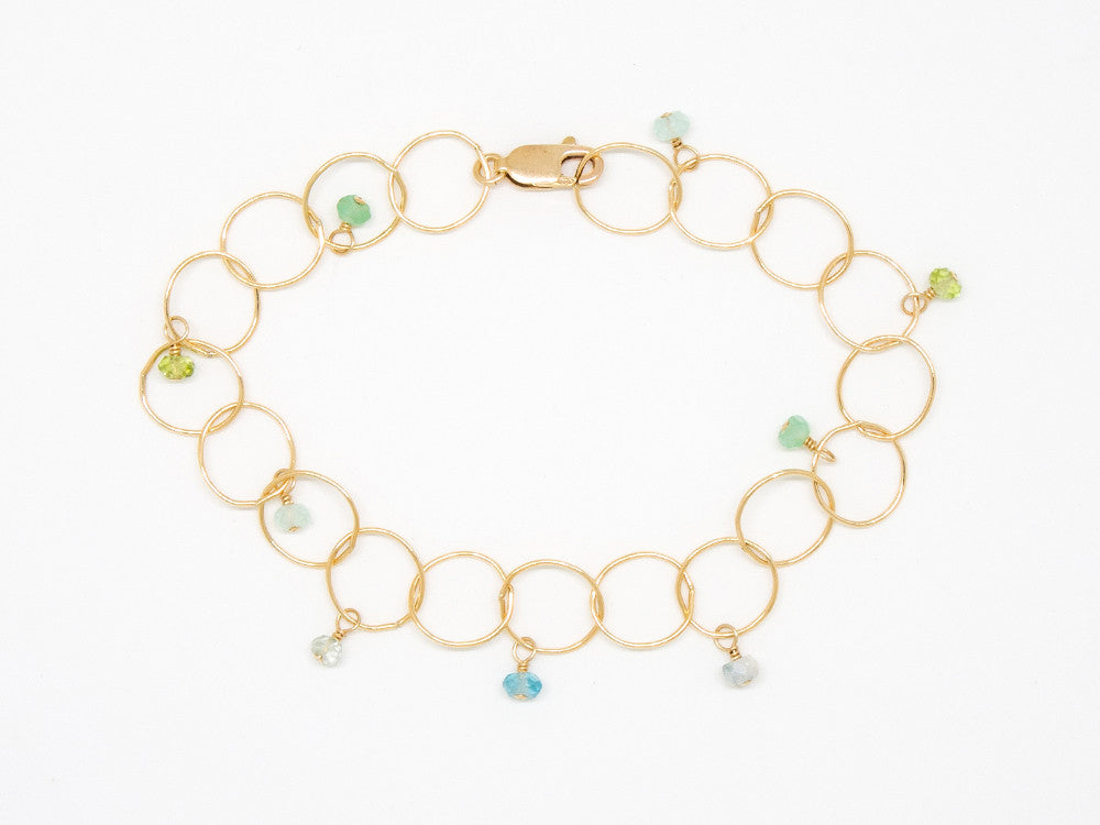 Gold Filled Blue and Green Bubble Chain Bracelet - B903