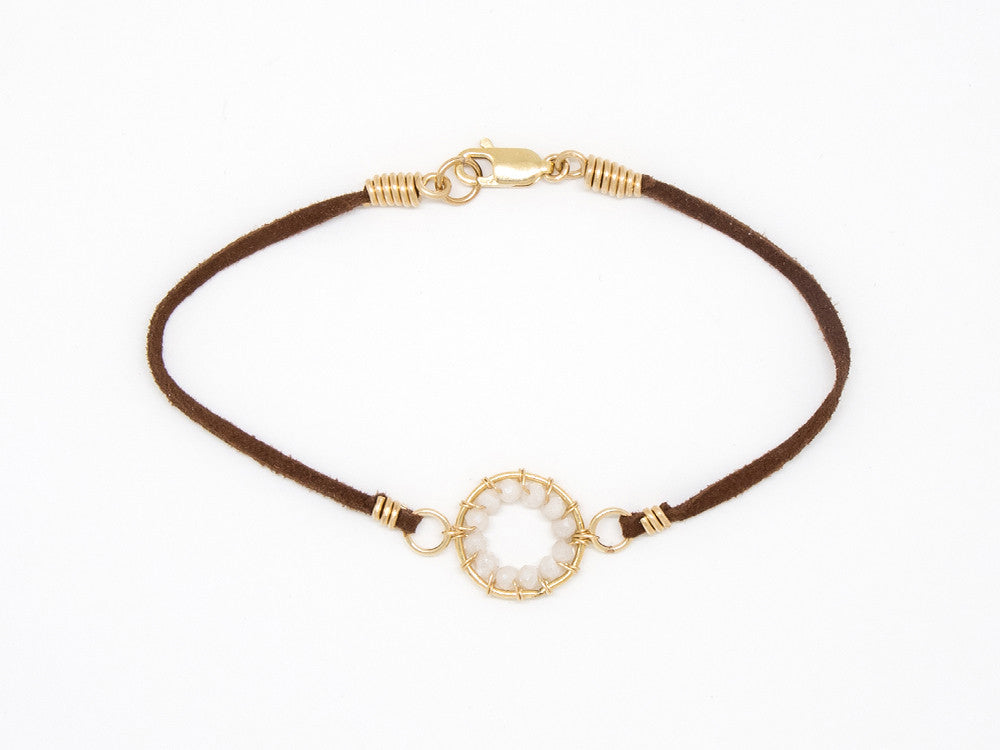 Brown Suede Gold Filled White Sapphire Bracelet - B907
