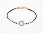 Brown Suede Gold Filled Bracelet - B910