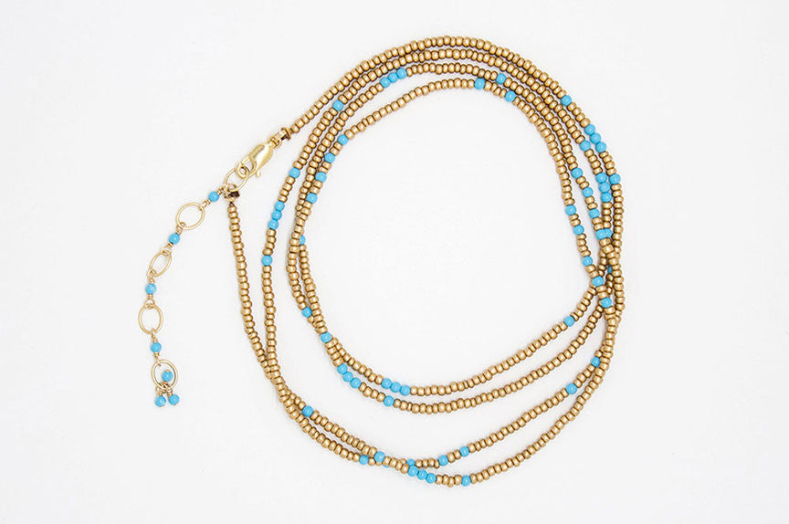 Turquoise and Gold Wrap Bracelet - B918