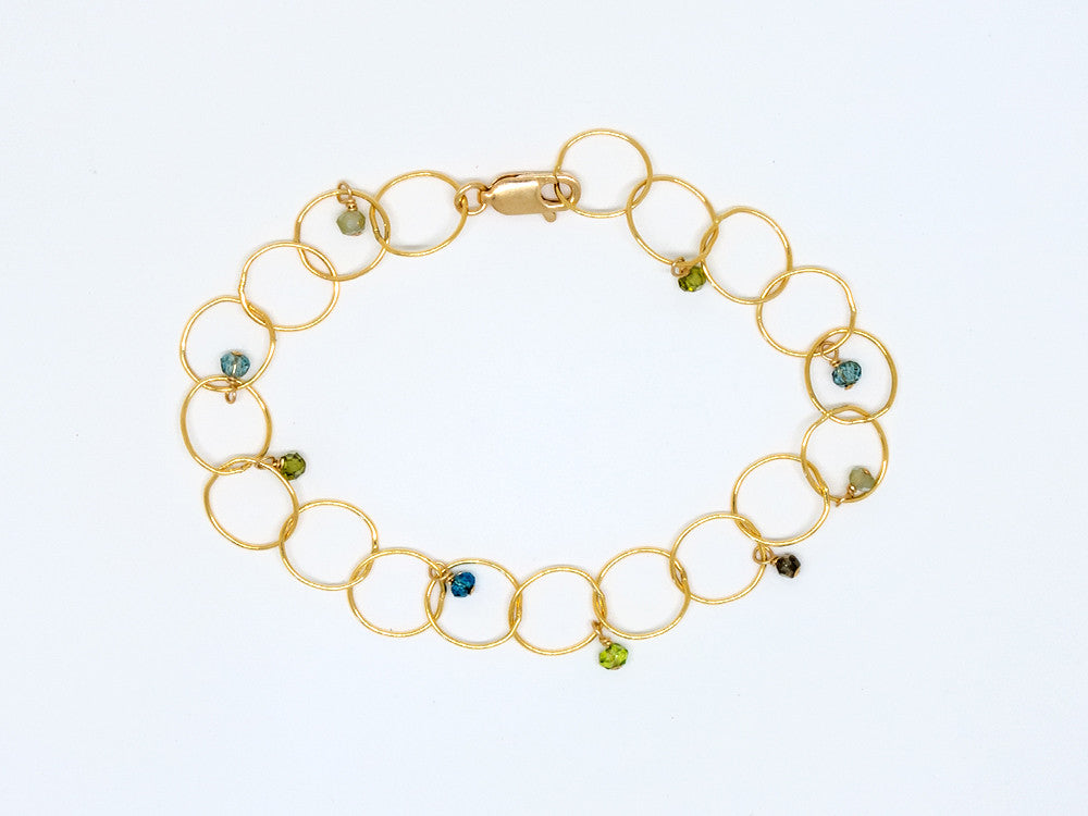 Blue and Green Semiprecious Stone Bracelet - B920