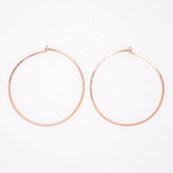 Rose Gold Round Hoops - E1688