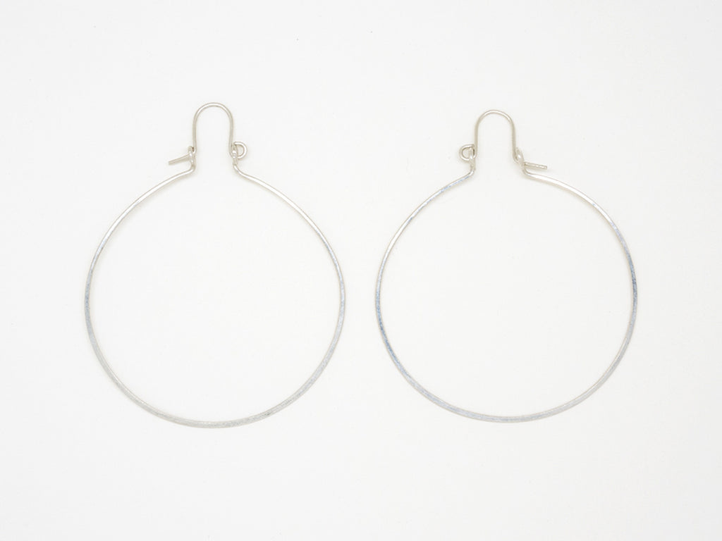 Sterling Silver Large Round Hoop Earrings - E1947
