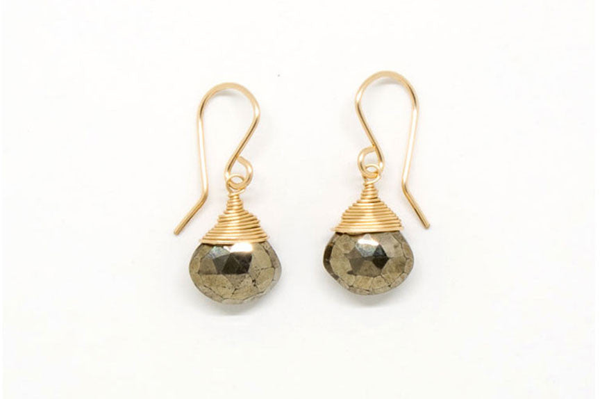 Pyrite Heart-Shaped Drop Earrings - E1953