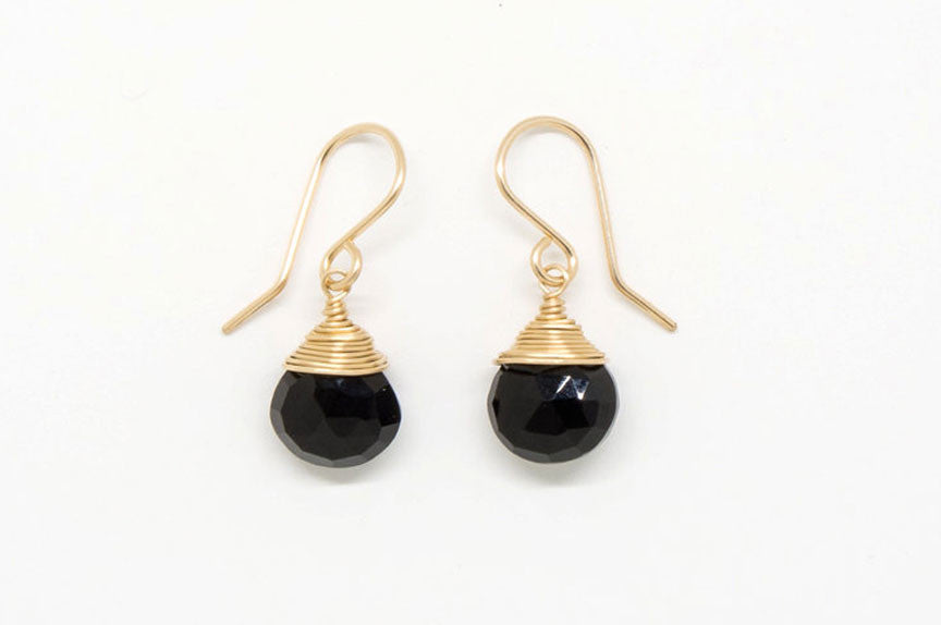Black Heart Drop Earrings - E1954