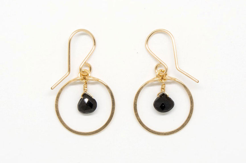 Baby Black Heart Circle Earrings - E1956