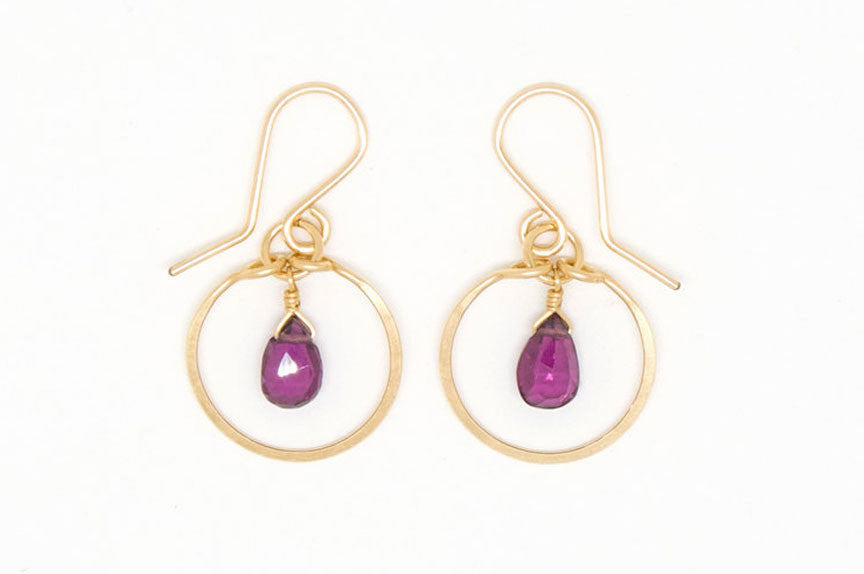 Baby Garnet Teardrop Circle Earrings - E1957