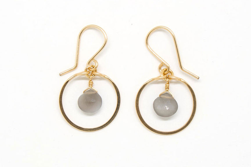 Baby Gray Moonstone Heart Circle Earrings - E1958