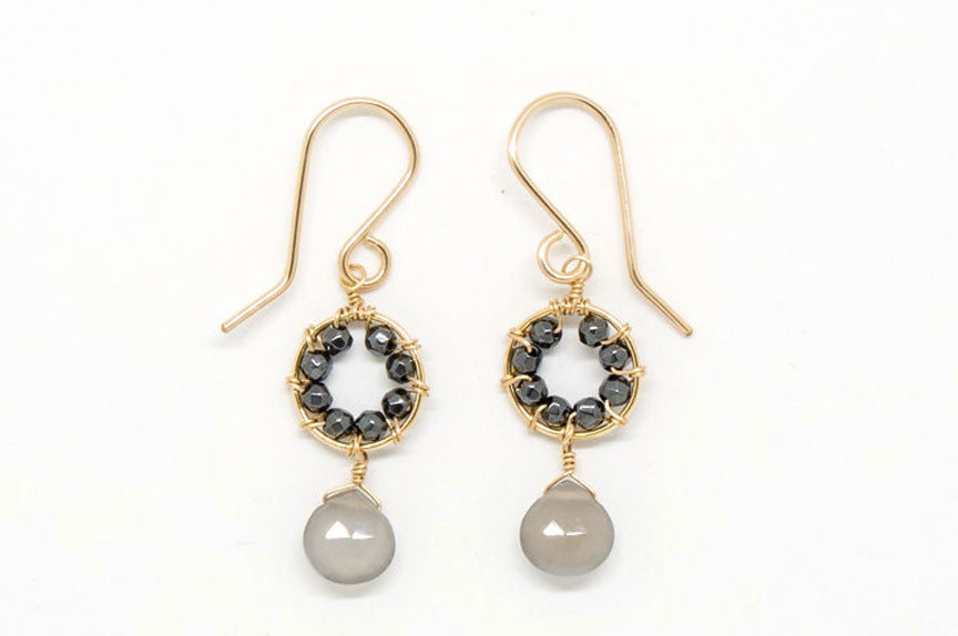 Baby Gray Moonstone Heart Drop Earrings - E1963