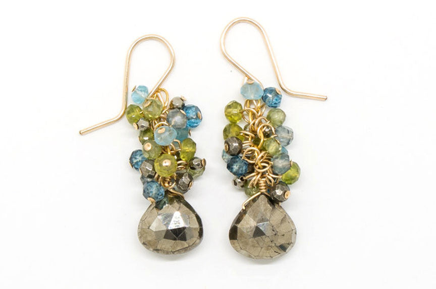 Pyrite Heart Stone Earrings - E1968