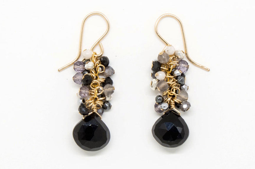 Black Spinel Heart Teardrop Stone Earrings - E1969