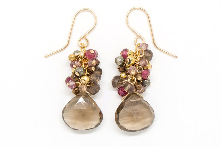 Smoky Quartz Heart Stone Earrings - E1970
