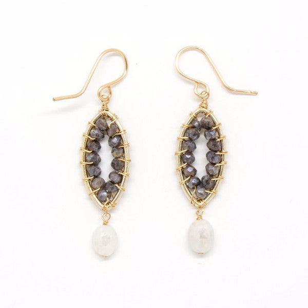 Gray Sapphire Rondelle Earrings - E1974