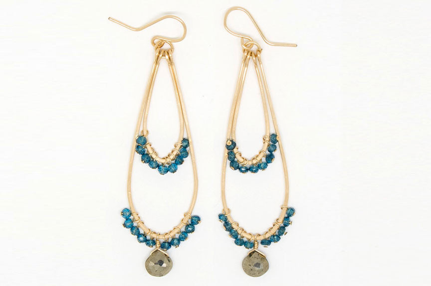 Blue Quartz Double Teardrop Earrings - E1990