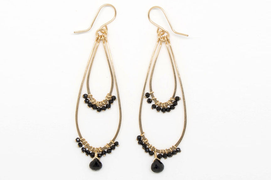 Black Spinel Double Teardrop Earrings - E1992