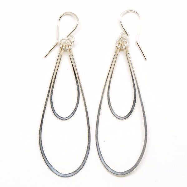 Sterling Silver Double Teardrop Earrings - E2006