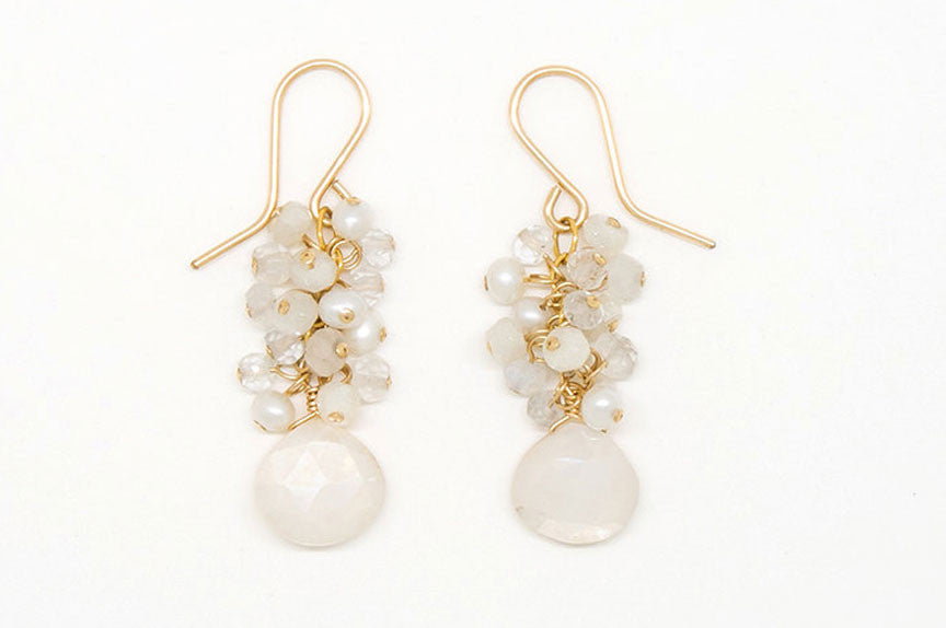 Mystic Moonstone Heart Teardrop Earrings - E2021