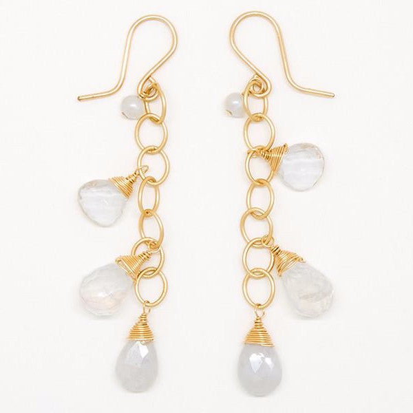 Moonstone, Clear Quartz, White Sapphire and Pearl Earrings - E2028