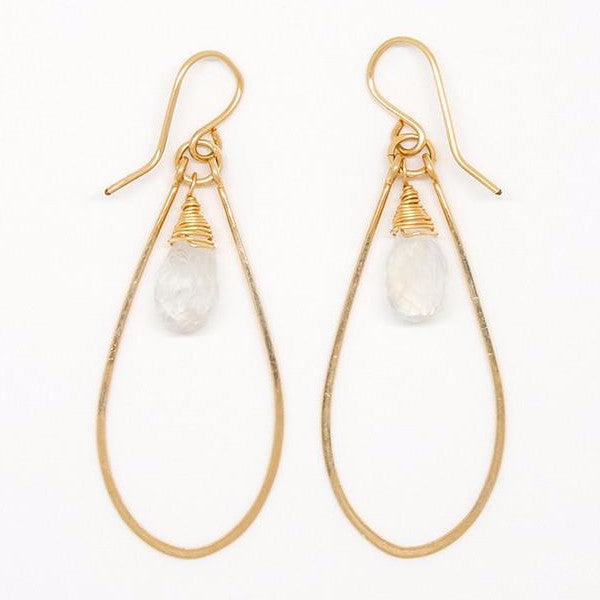 White Moonstone Teardrop Earrings - E2029