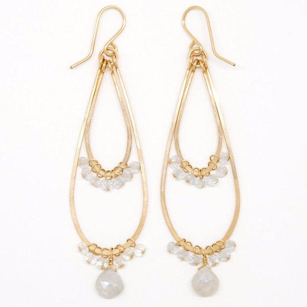 White Moonstone Double Teardrop Earrings - E2030