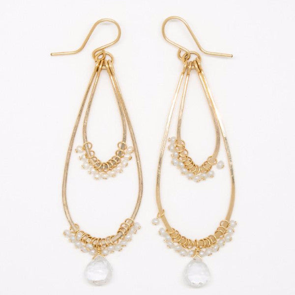 Baby White Pearl Double Teardrop Earrings - E2031