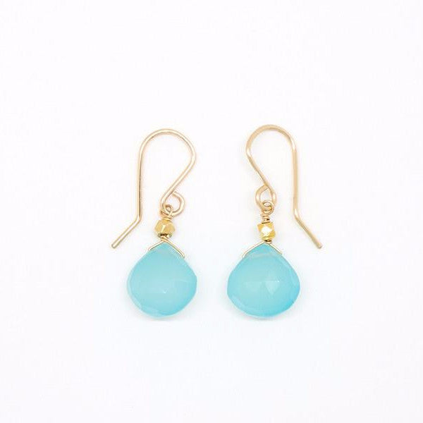 Vibrant Chalcedony Heart Earrings - E2032