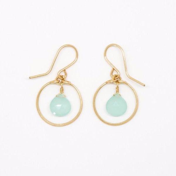 Baby Chalcedony Drop Dangle Earrings - E2037