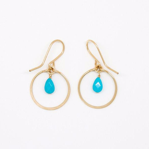 Baby Turquoise Teardrop Dangle Earrings - E2038