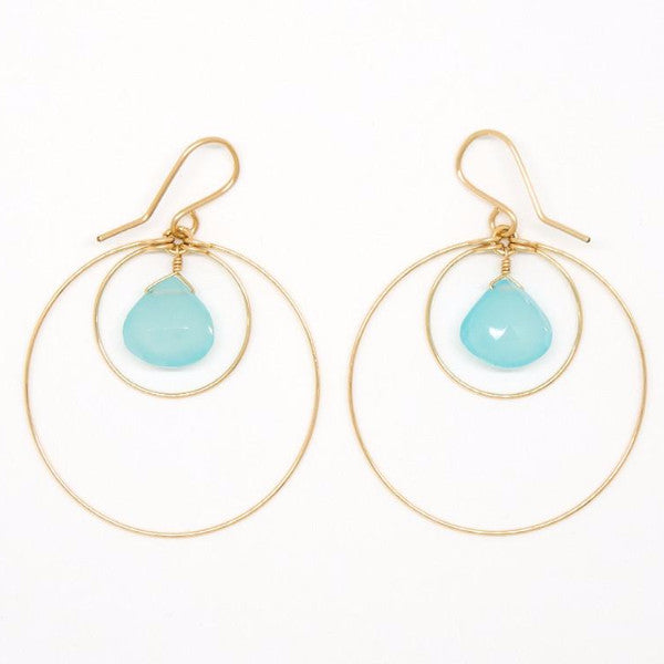 Chalcedony Drop Circle Earrings - E2039