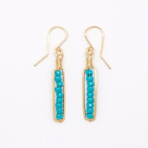 Gold Filled Turquoise Bead Earrings - E2040