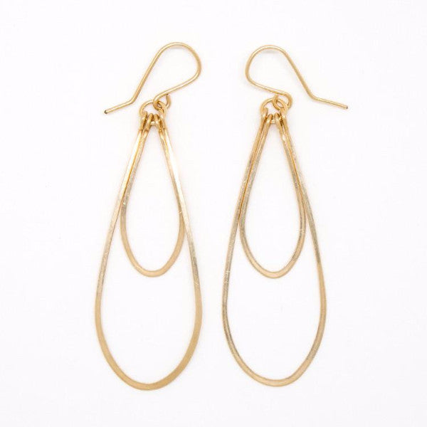 Sleek Gold Double Teardrop Earrings - E2041