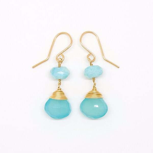 Chalcedony Drop Blue Opal Earrings - E2042