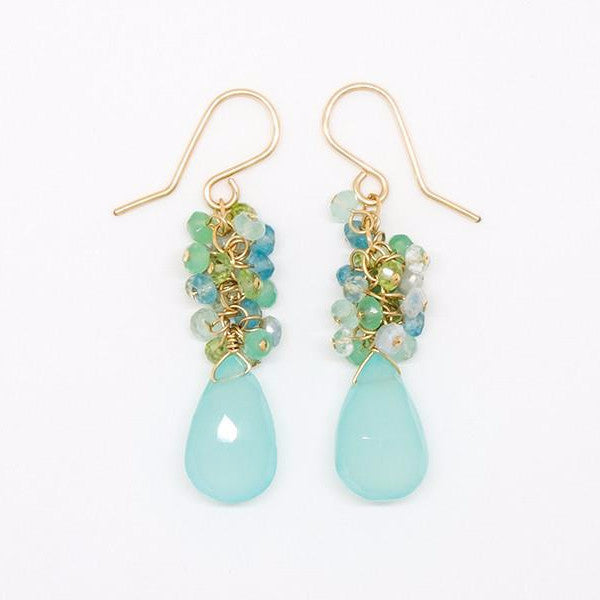 Blue and Green Cluster Earrings - E2044